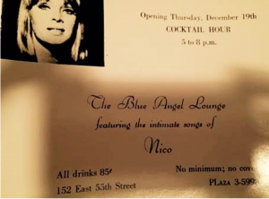 Nico at the Blue Angel Lounge December 19, 1964 Invitation